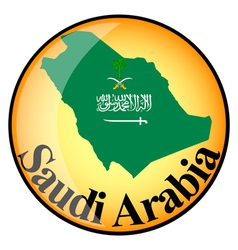 Orange button with the image maps of saudi arabia vector