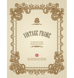 original hand draw ornate floral vintage frame vector image