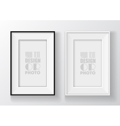 Realistic black and white picture frame vector image