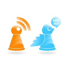 Rss and twitter icons vector