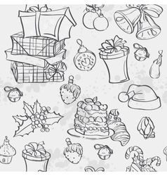 Seamless texture with Christmas gifts Christmas vector image vector image