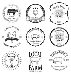 Set of agriculture label design elements vector