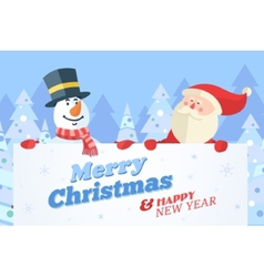 Snowman and Santa with banner Christmas background vector image vector image