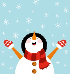 Snowman enjoying snow vector
