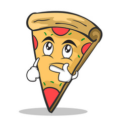 thinking face pizza character cartoon vector image