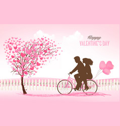 Valentines day background with a heart shaped vector