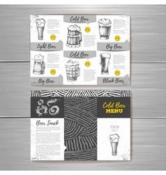 Vintage cold beer menu design vector image vector image