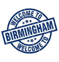 Welcome to birmingham blue stamp vector