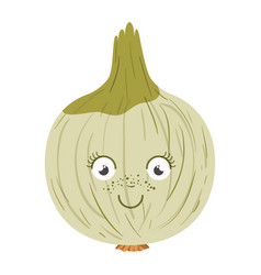white background with onion caricature in closeup vector image vector image