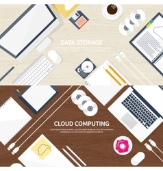 Workplace table with vector image vector image