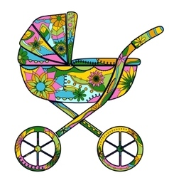Baby carriage colorful vector