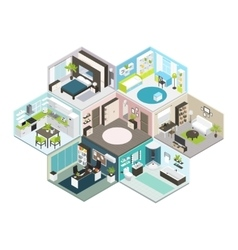 Isometric House Different Floors Composition vector image