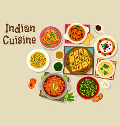 Indian cuisine dinner menu icon for food design vector