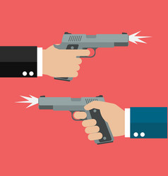 Two hands holding handguns vector