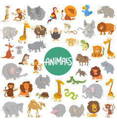 Cartoon animal characters big set vector