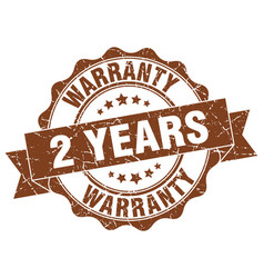 2 years warranty stamp sign seal vector