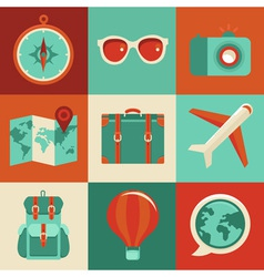 Icons and concepts in flat style - travel and vaca vector