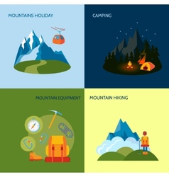 Camping icons set flat vector