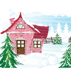 Pink fairy house in winter forest vector