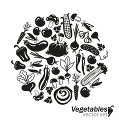 vegetables black icons on white background vector image