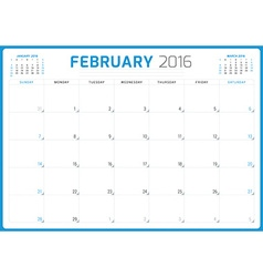 Calendar planner 2016 design template february vector