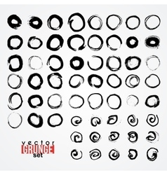 Set of grunged traced circles by painbrush and ink vector