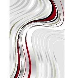 Maroon and silver wavy stripes on gray background vector image