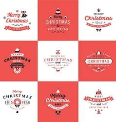Set of retro vintage typographic merry christmas vector
