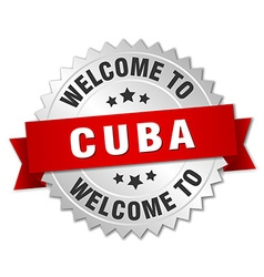 Cuba 3d silver badge with red ribbon vector