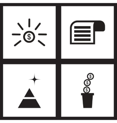 Concept flat icons in black and white economy vector image