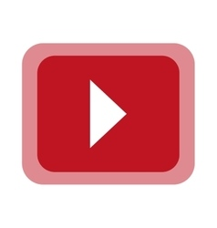 Play button over red background vector