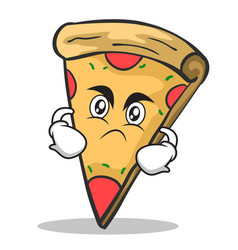 Angry face pizza character cartoon vector