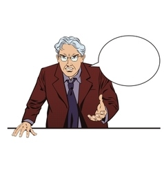 Angry gray-haired man the boss is furious vector