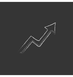 Arrow upward drawn in chalk icon vector