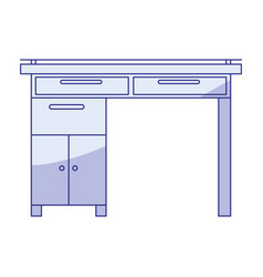 Blue shading silhouette of wooden home desk vector