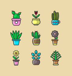 Cartoon green indoor plants in pots big collection vector