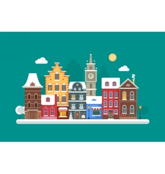 Christmas City Background vector image vector image