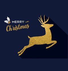 christmas gold glitter holiday deer animal card vector image