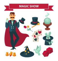 Circus magician man with magic show vector
