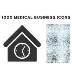 Clock building icon with 1000 medical business vector