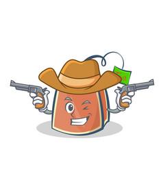 Cowboy tea bag character cartoon vector