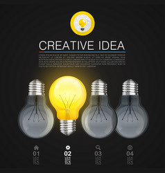Creative idea idea lamp light black background vector