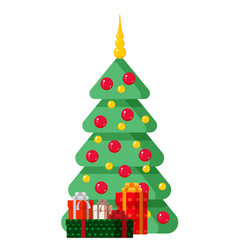 decorated christmas tree with gifts vector image