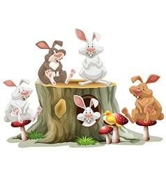 Five rabbits sitting on log vector image vector image