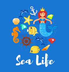 Flat style of sea life vector