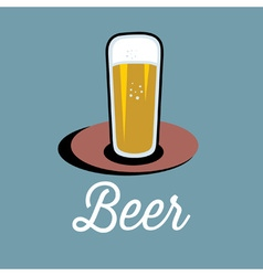 glass of beer on the table vector image vector image