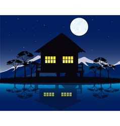 House beside yard vector