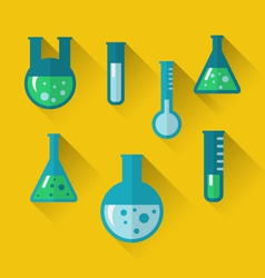icons of chemical test tubes with shadows modern vector image