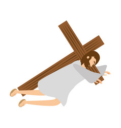 Jesus christ second fall via crucis station vector