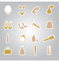 Lady stuff needs stickers set eps10 vector
